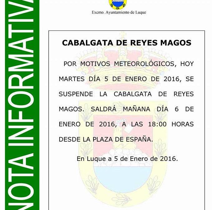 APLAZADA LA CABALGATA DE REYES MAGOS 1