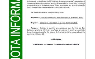 CANCELADAS LA FERIA EN HONOR A SAN BARTOLOMÉ Y LA FERIA DEL OLIVAR 2020