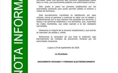BUENAS NOTICIAS DESDE LA RESIDENCIA DE MAYORES