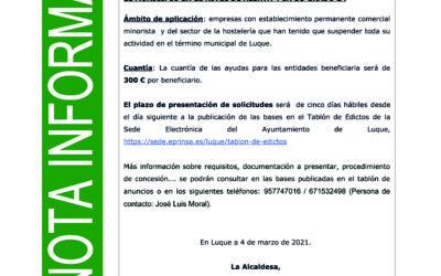 APROBADAS AYUDAS EXTRAORDINARIAS A EMPRESAS CON  ESTABLECIMIENTO  COMERCIAL MINORISTA Y DE HOSTELERÍA AFECTADAS POR MEDIDAS DEL COVID-19