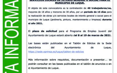 PUBLICADAS LAS CONVOCATORIAS DE LOS PROGRAMAS DE EMPLEO JOVEN Y MAYORES DE 30 AÑOS EN EL MUNICIPIO DE LUQUE
