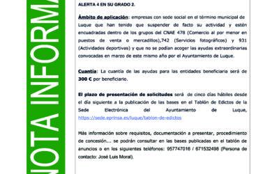 APROBADAS LAS AYUDAS EXTRAORDINARIAS AL COMERCIO AL POR MENOR EN PUESTOS DE VENTA O MERCADILLOS, SERVICIOS FOTOGRÁFICOS Y ACTIVIDADES DEPORTIVAS AFECTADAS POR MEDIDAS DEL COVID-19